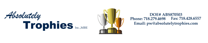 Absolutely Trophies Inc. MBE - acrylic awards, crystal awards, cup trophies, perpetual plaques, baseball trophies, football trophies, soccer trophies, corporate plaques, recognition plaques, glass awards, gifts, clocks, corporate awards, bayside, ny, new york